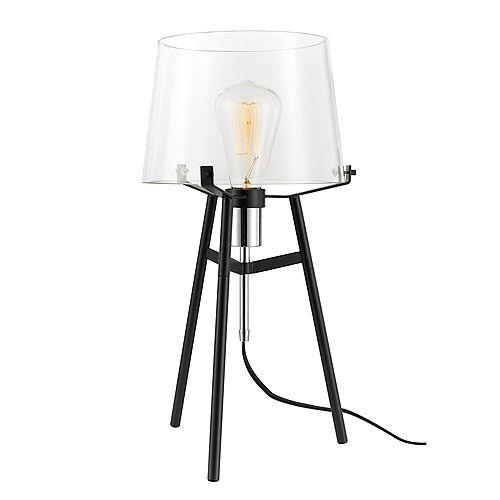 """Lampe de table de 20"""", collection Lancaster, fini noir, prise exposée chromée, abat-jour en verre"""
