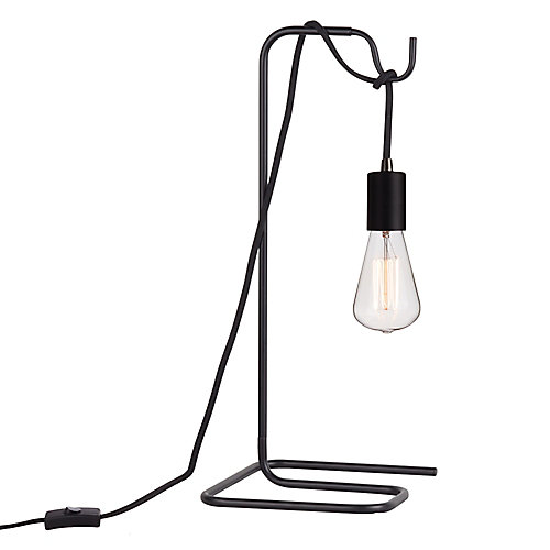 Designer Series 18 inch Black Table Lamp with Vintage Bulb