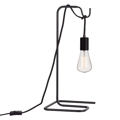 "Lampe de table noire avec ampoule vintage 18"", collection Designer Series"
