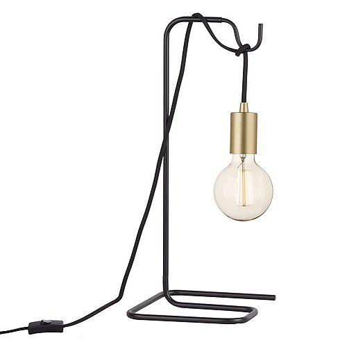 """Lampe de table noire et laiton avec ampoule vintage 18"""""""