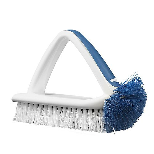 2-in-1 Bath & Tile Brush with Handle and Integrated Scraper
