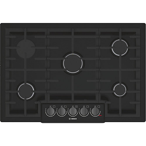 800 Series - 30 inch Gas Cooktop - 5 Burners - Black w/ Black Stainless Knobs