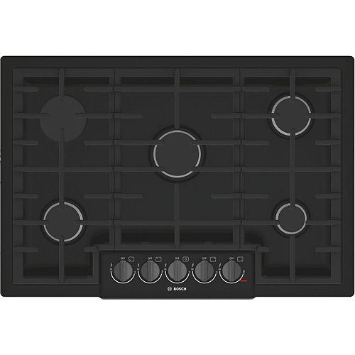 800 Series - 30 inch Gas Cooktop - 5 Burners - Black w/ Black Stainless Knobs