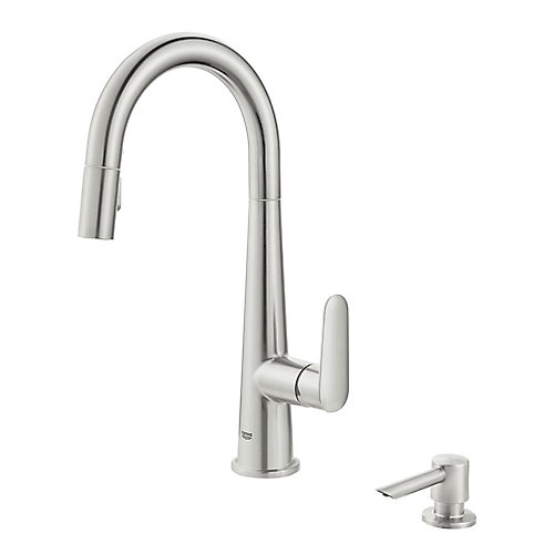 Veletto Single-Handle Pull-Down Spray Kitchen Faucet in SuperSteel Infinity Finish