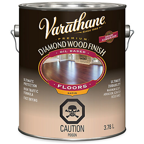 Premium Diamond Wood Finish For Floors, Oil-Based In Satin Clear, 3.78 L