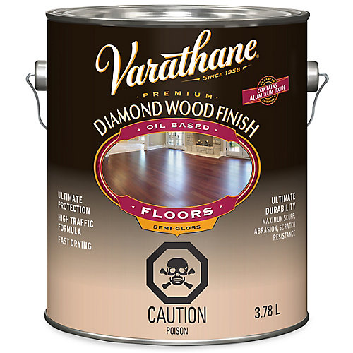 Premium Diamond Wood Finish For Floors, Oil-Based In Semi-Gloss Clear, 3.78 L