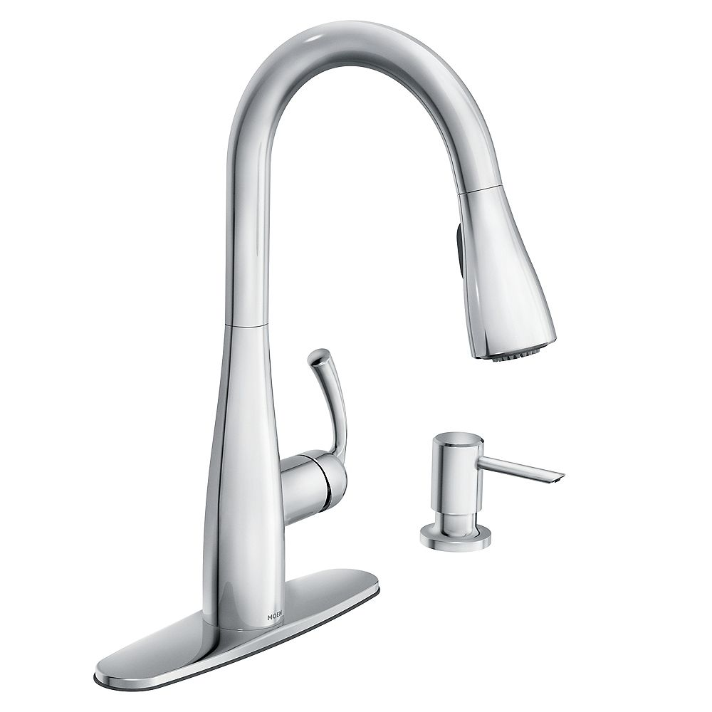 Moen Essie Single Handle Pull Down Sprayer Kitchen Faucet With Reflex And Power Clean In C The Home Depot Canada