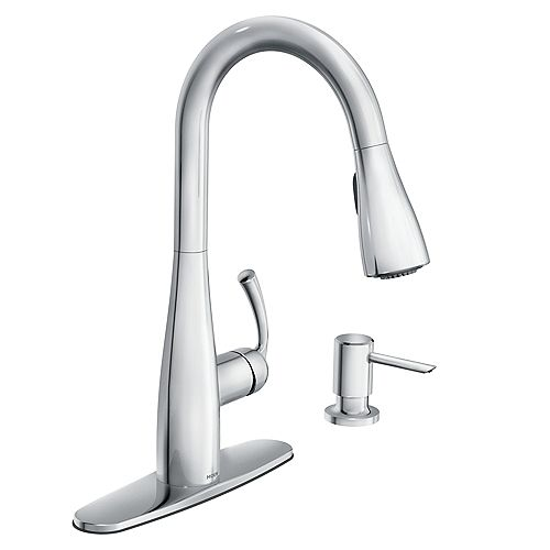 MOEN Essie Single-Handle Pull-Down Sprayer Kitchen Faucet with Reflex and Power Clean in Chrome