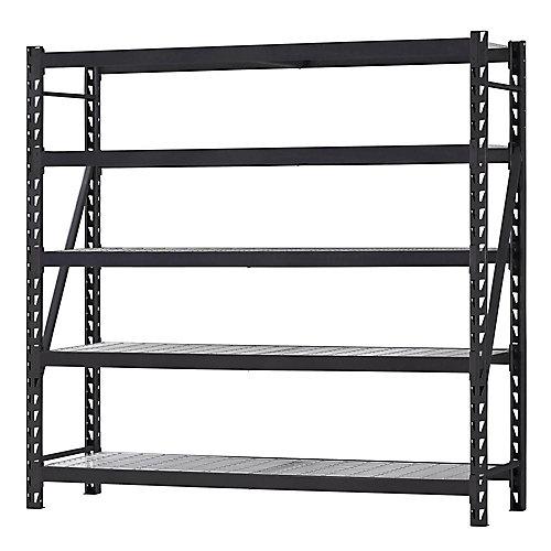 90-inch W x 90-inch H x 24-inch D 5-Shelf Welded Steel Garage Storage Shelving Unit with Wire Deck in Black