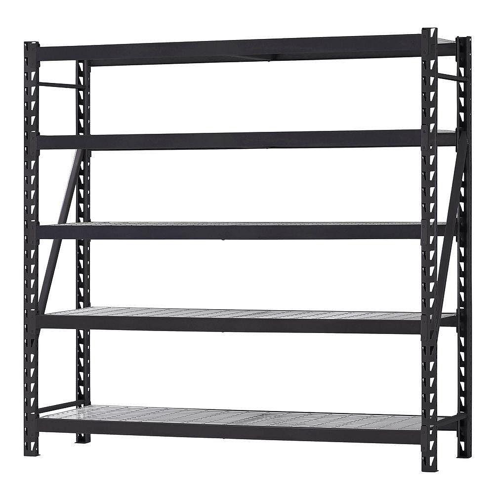 Husky 90-inch W x 90-inch H x 24-inch D 5-Shelf Welded Steel Garage Storage Shelving Unit with Wire Deck in Black
