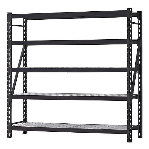 90-inch W x 90-inch H x 24-inch D 5-Shelf Welded Steel Garage Storage Shelving Unit with Wire Deck in Black