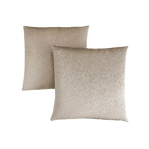 Pillow - 18-inch X 18-inch Taupe Floral Velvet (2-Piece)