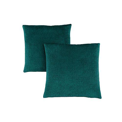 Coussin - 18 po X 18 po Velour Mosaique Vert Emeraude (2-Pcs)