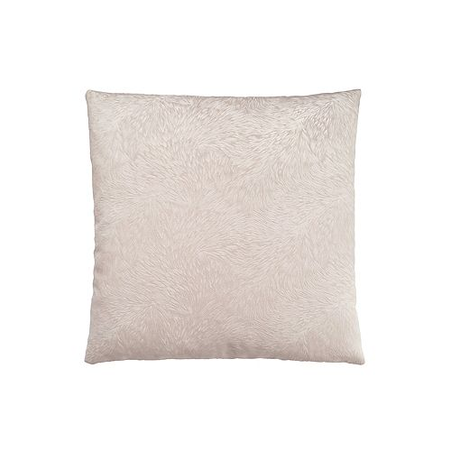 18-inch x 18-inch Light Taupe Feathered Velvet Pillow