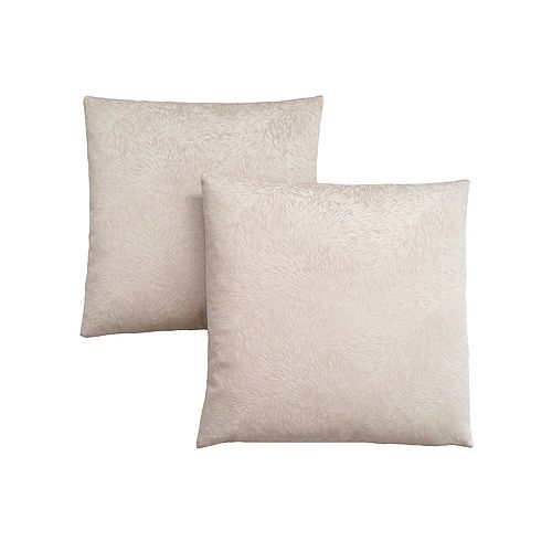 Pillow - 18-inch X 18-inch Light Taupe Feathered Velvet (2-Piece)