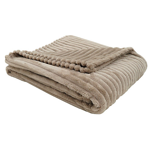 Throw - 60-inch X 50-inch Beige Ultra Soft Ribbed Style