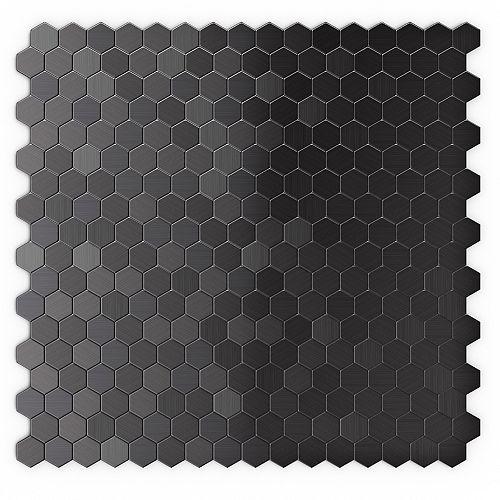 Tuile de mosaÏque pour murs Hexagonia SB, 11,46 po x 11,89 po x 0,2 po, metal, noir