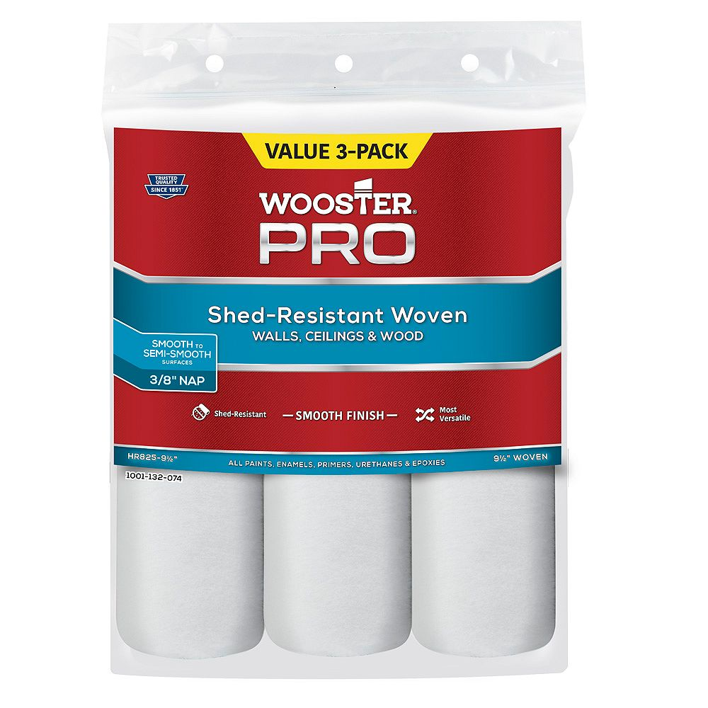 Wooster Pro 9.5-inch x 3/8-inch (240mm x 10mm) Woven Roller Cover (3-Pack)