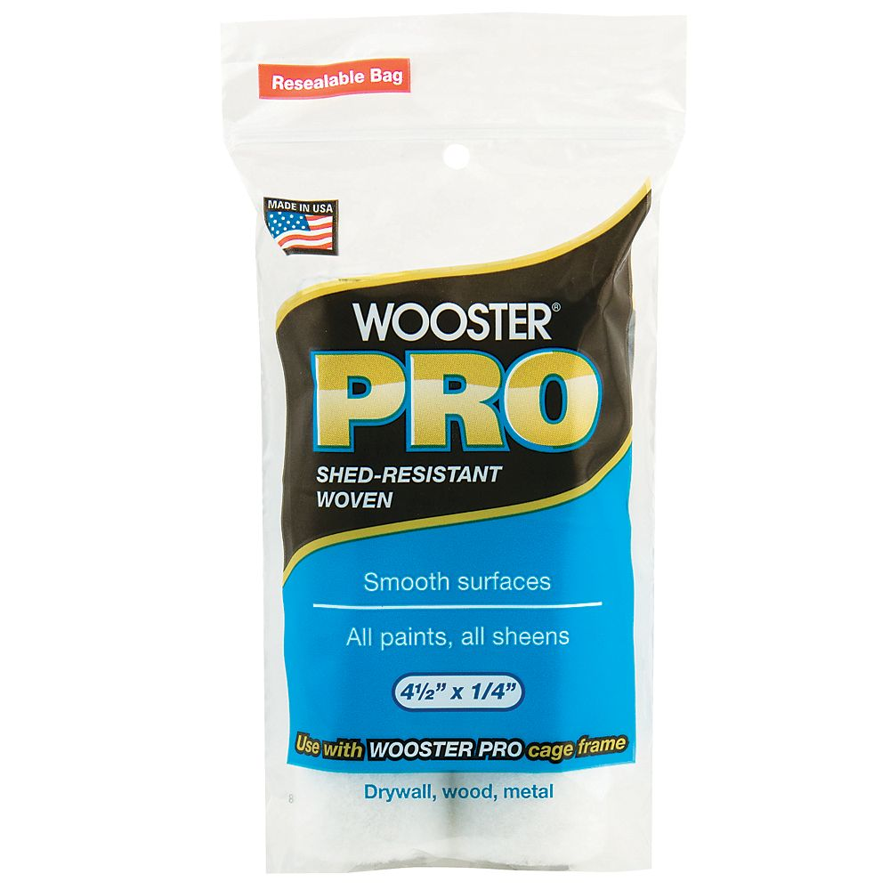 Wooster 4-1/2 inch x 1/4 inch (115mm x 6mm) Pro Woven Mini Roller Cover (2-Pack)