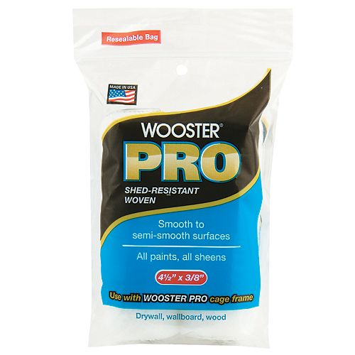 Wooster 4-1/2 inch x 3/8 inch (115mm x 10mm) Pro Woven Mini Roller Cover (2-Pack)