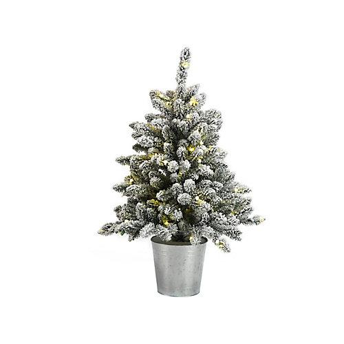 Arbre de Noël artificiel enneigé illuminé à 70 ampoules à DEL en pot, blanc chaud, 3 pi