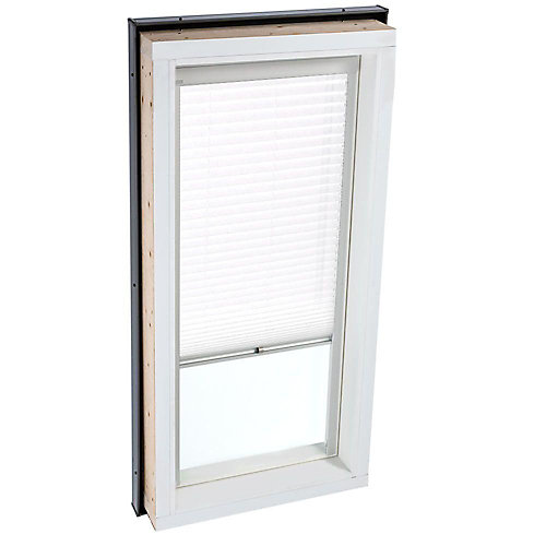 White- Manual Light Filtering blind for Fixed Curb Mount Skylight FCM 2222 - single pleated