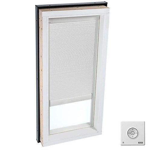 White- Solar powered Room Darkening blind for Curb Mount Skylight size 2246- double pleated