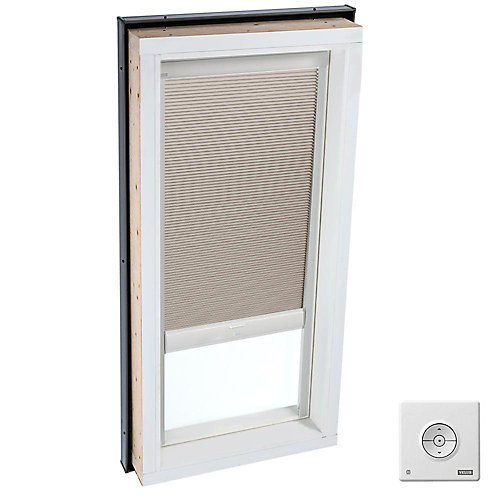 Beige- Solar powered Room Darkening blind for Curb Mount Skylight size 3446- double pleated
