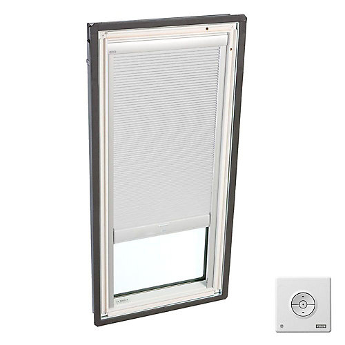 White- Solar Powered Room Darkening blind- double pleated -for FS D06