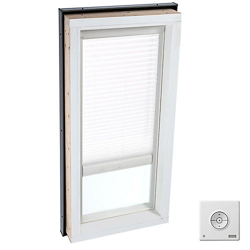 White- Solar Powered Light Filtering Blind for Curb Mount Skylight size 2230- single pleated