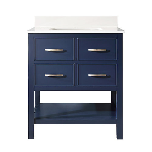 Brookbank 30-inch 2-Drawer Vanity in Navy Blue with White Engineered Marble Top