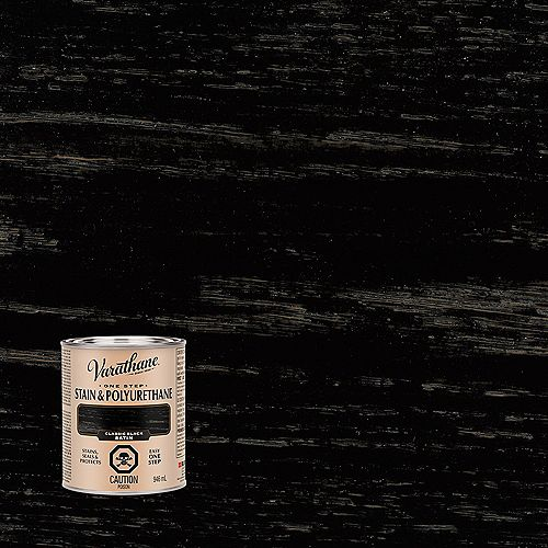 One Step Teinture Et Polyuréthane À Base D'Huile En Noir Classique Satiné - 946 Ml