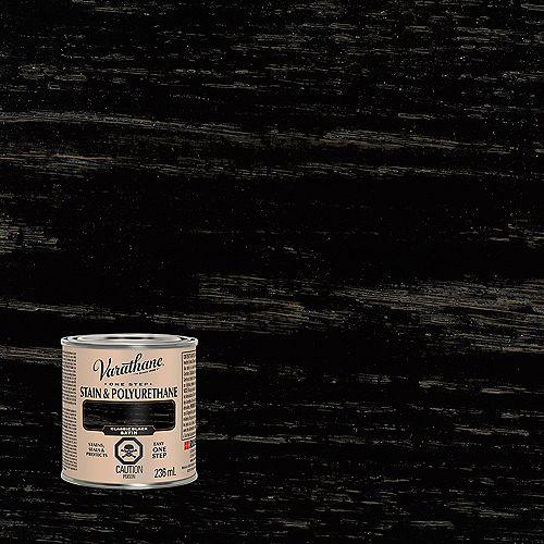 One Step Teinture Et Polyuréthane À Base D'Huile En Noir Classique Satiné - 236 Ml