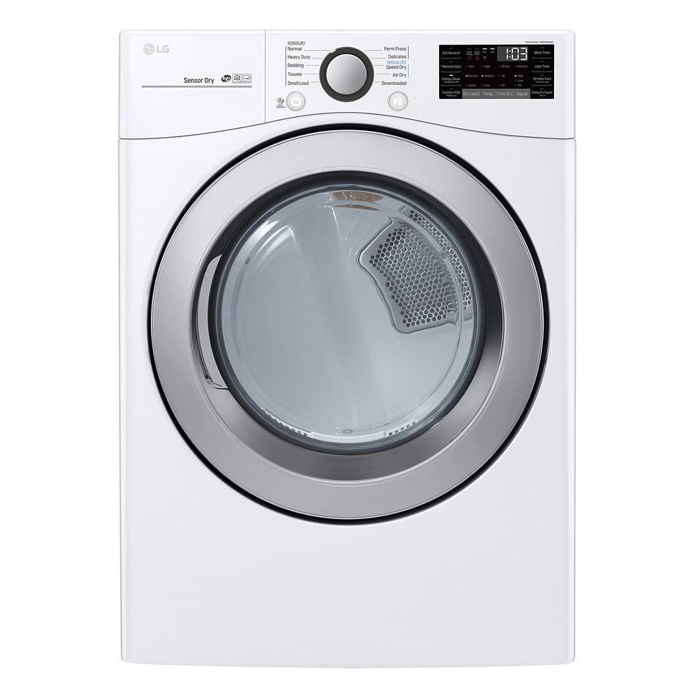 LG Electronics 7.4 cu. ft. Smart Electric Dryer with Ultra Large Capacity and Wi-Fi in White, Stackable - ENERGY STAR®