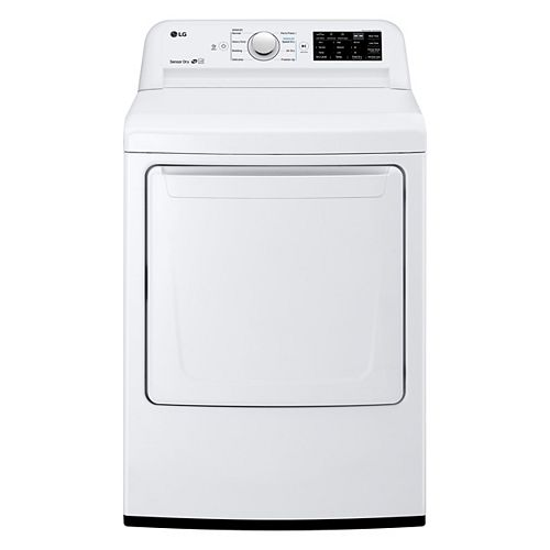 LG Electronics 7.3 cu. ft. Electric Dryer with Ultra Large Capacity and Sensor Dry in White - ENERGY STAR®