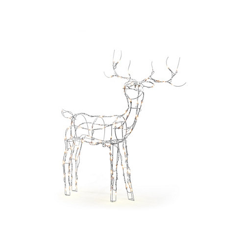 52-inch 120-Light LED White Wire Reindeer