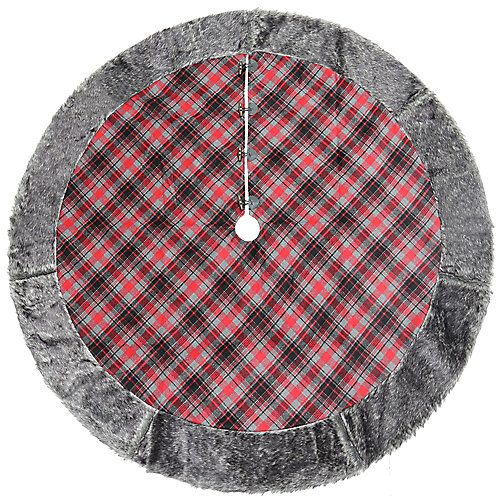 60-inch Dia. Plaid Christmas Tree Skirt with Faux Fur Border & Wooden Toggle