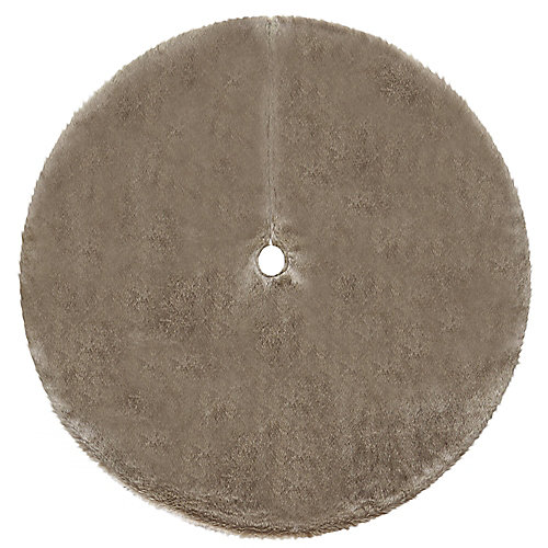 60-inch All-Over Faux Fur Lush Tree Skirt in Brown