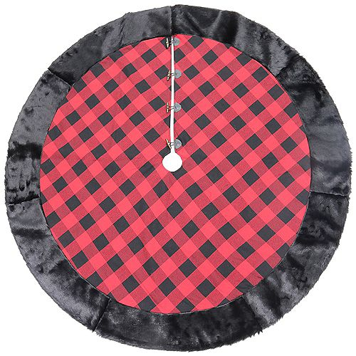 60-inch Buffalo Plaid Rustic Tree Skirt with Faux Fur Border in Red/Black