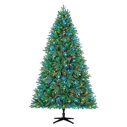 Sapin de Noël Royal Dara de 7,5pi pré-illuminé avec 390 à DEL RBG contrôlées par application