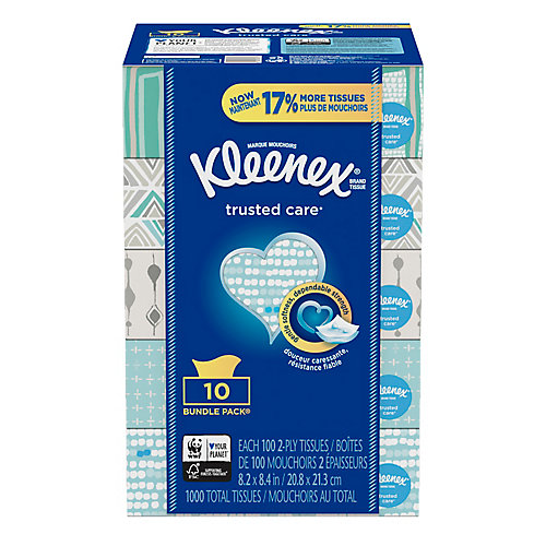 Trusted Care Everyday Facial Tissues, 100 Tissues, 6 Pack