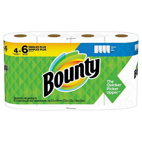 Bounty Select-A-Size Paper Towels, White, 4 Single Plus Rolls = 6 Regular Rolls