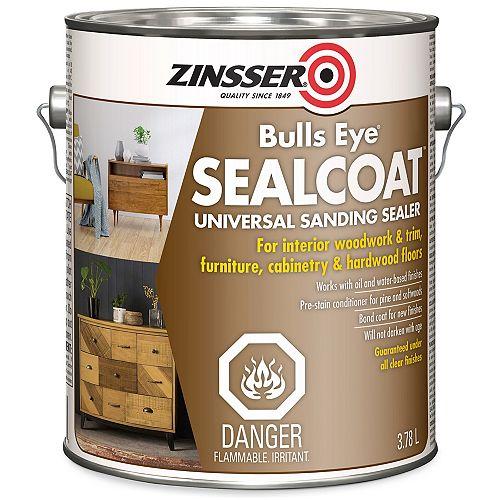 Bulls Eye Sealcoat Shellac Base Universal Sanding Sealer For Interior Wood Surfaces , 3.7 L