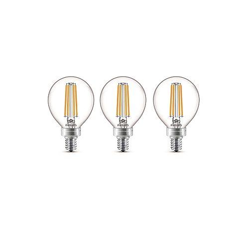 40W Equivalent Soft White Glass (2700K) G16.5 Globe Candelabra Base LED Light Bulb (3-Pack)