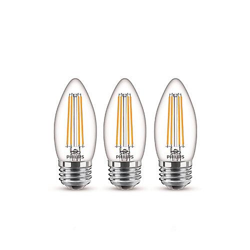 60W Equivalent Daylight Glass (5000K) Chandelier Medium Base LED Light Bulb (3-Pack)