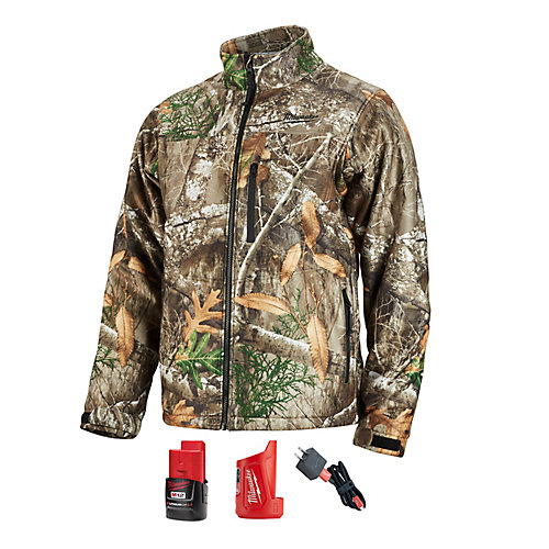 Men's Large M12 12-Volt Lithium-Ion Cordless Realtree Camo Heated Jacket with (1) 2.0Ah Battery