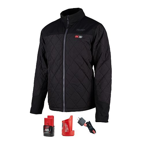 Men's Medium M12 12V Lithium-Ion Cordless AXIS Black Heated Quilted Jacket w/ (1) 2.0Ah Battery
