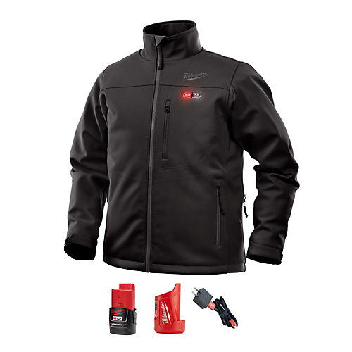Men's Large M12 12V Lithium-Ion Cordless Black Heated Jacket Kit w/ (1) 2.0Ah Battery, Charger