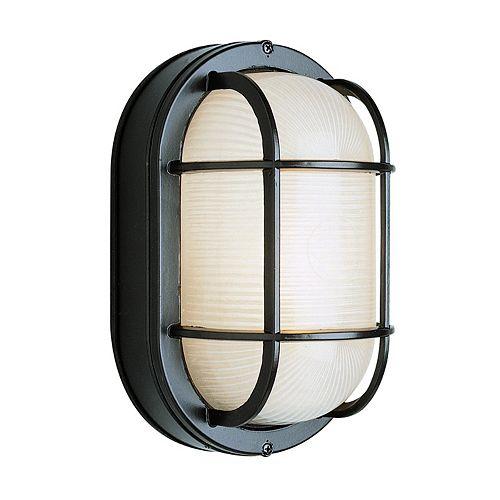 Bel Air Lighting Aria 1-Light Outdoor Bulkhead Wall Lantern in Black