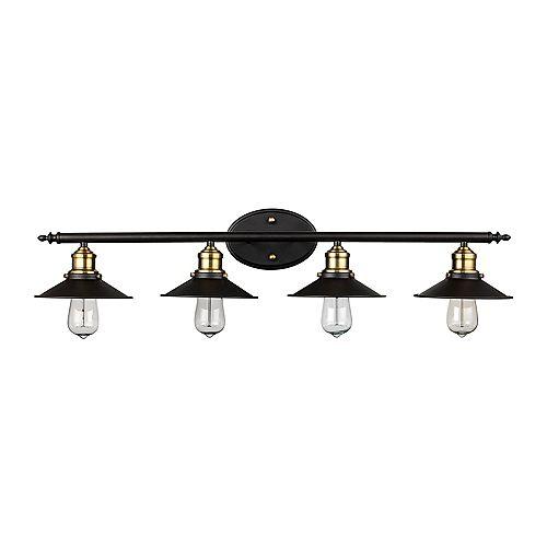 Luminaire pour meuble-lavabo à 4 ampoules Griswald, bronze huilé